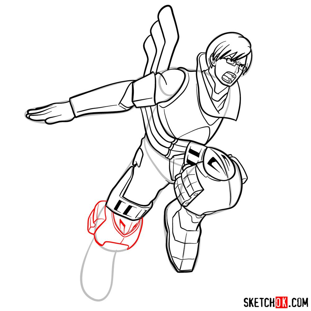 How to draw Tenya Ida in action pose - step 17