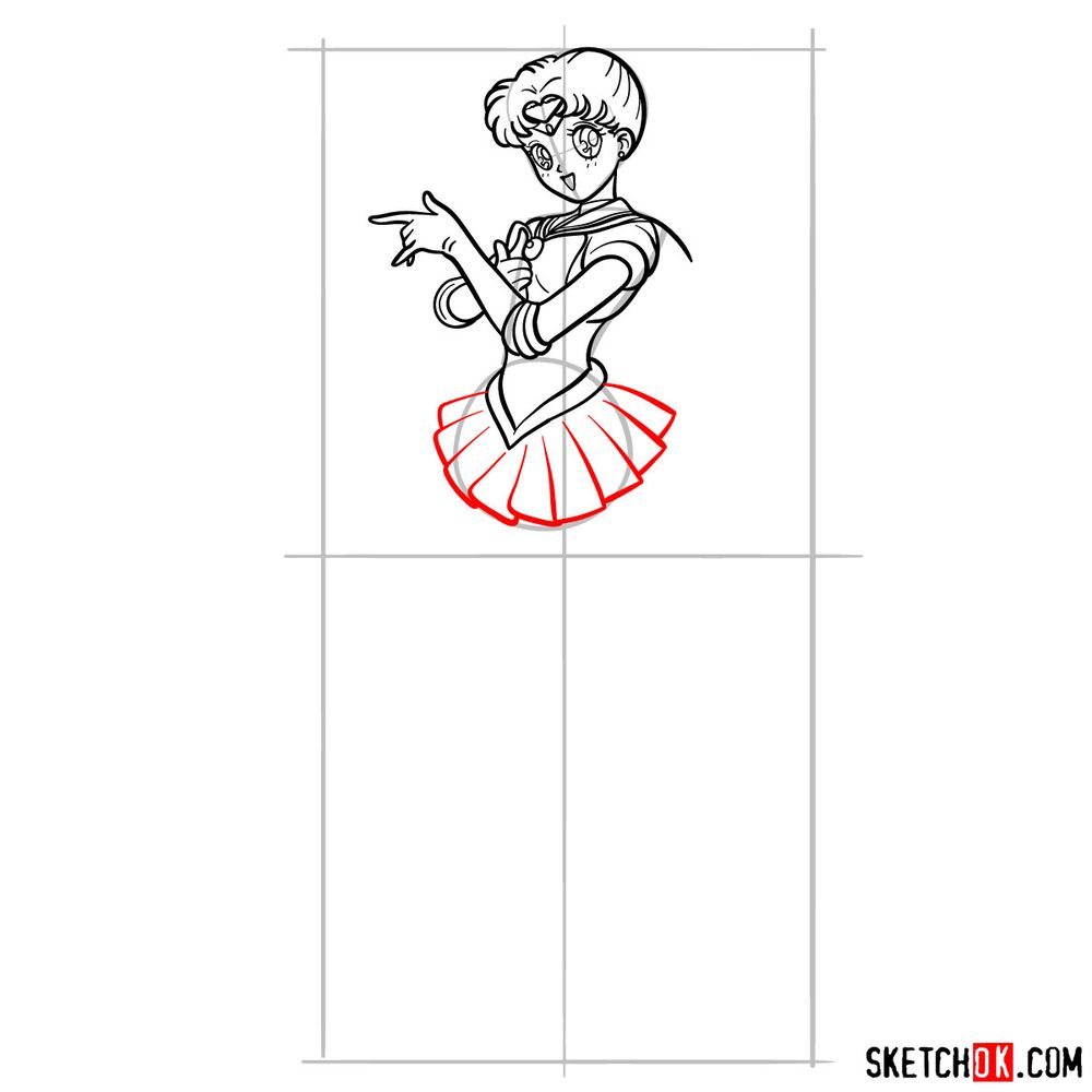 How to draw Sailor Moon - step 14