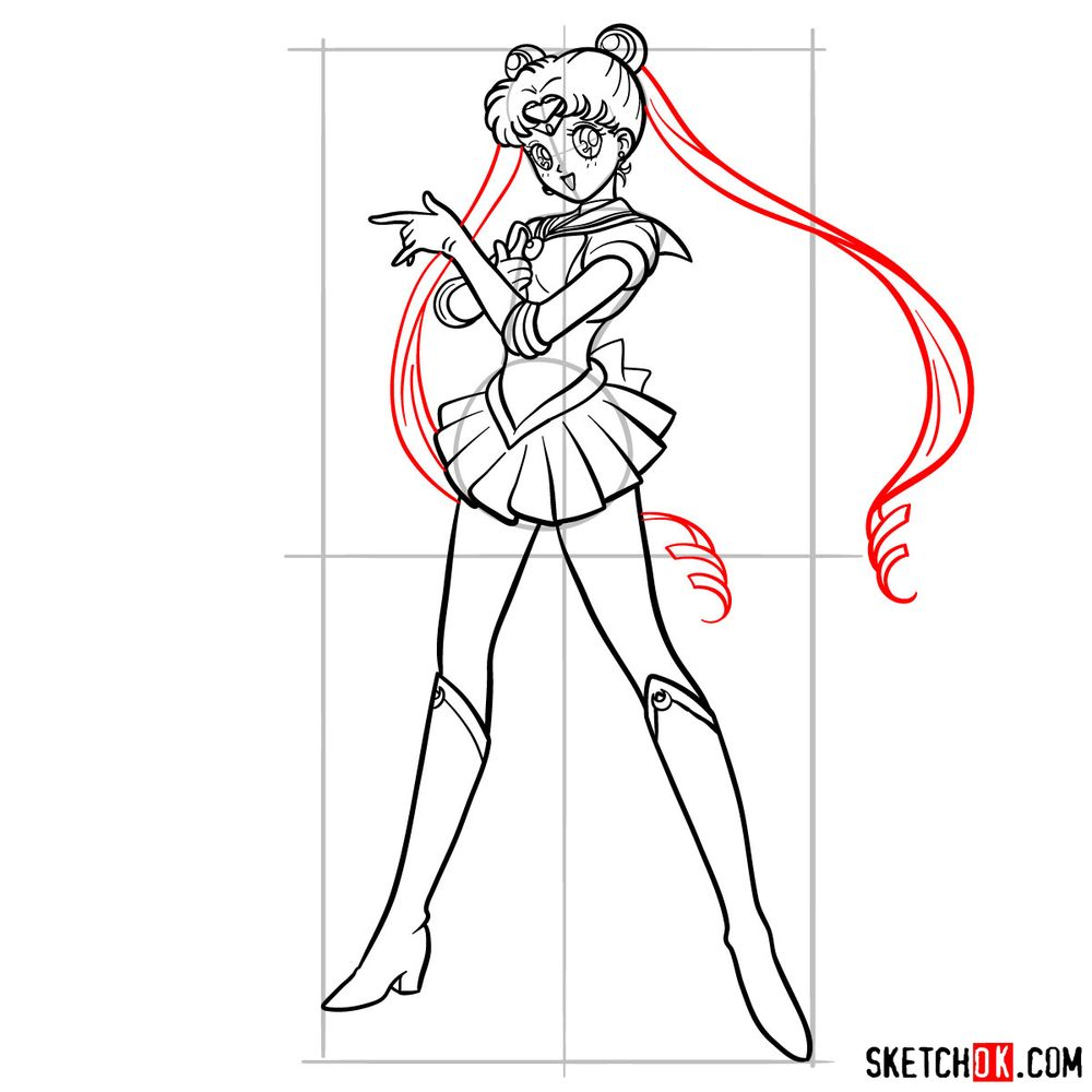 How to draw Sailor Moon - step 19