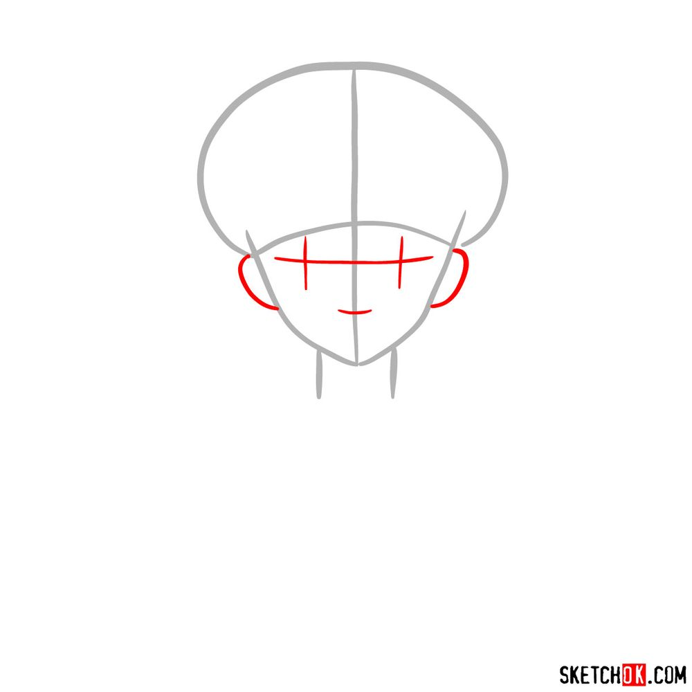 How to draw Sailor Moon's face - step 02