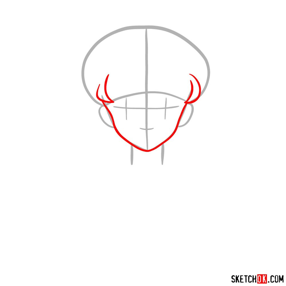 How to draw Sailor Moon's face - step 03
