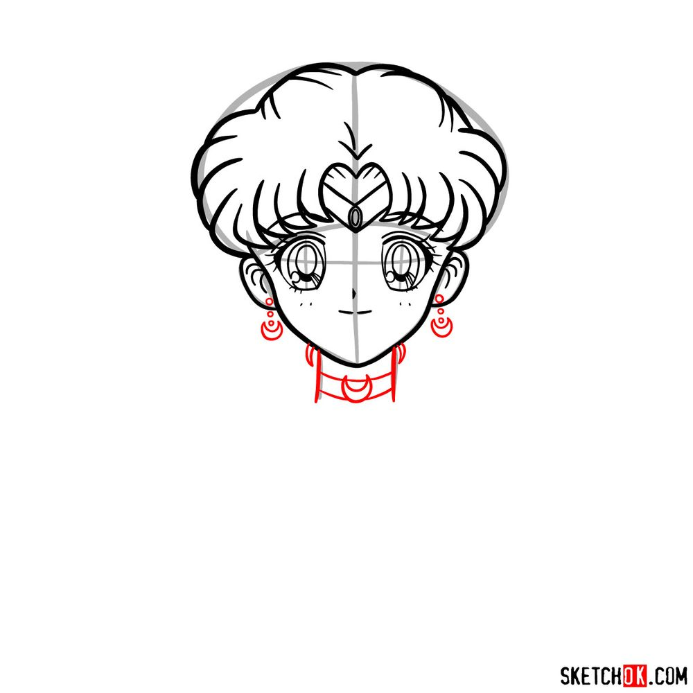 How to draw Sailor Moon's face - step 10