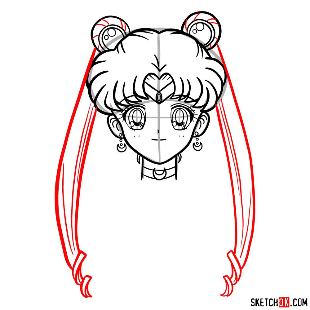 How to draw Sailor Moon's face - step 12