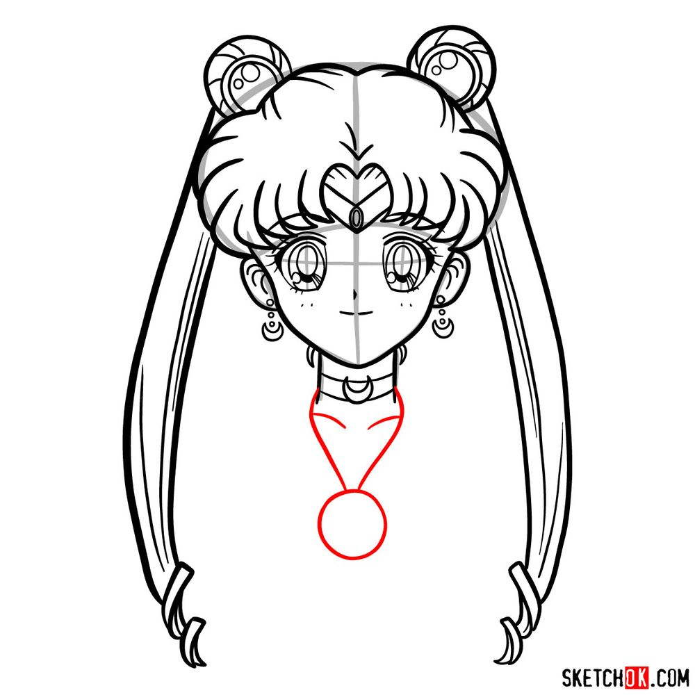 How to draw Sailor Moon's face - step 13