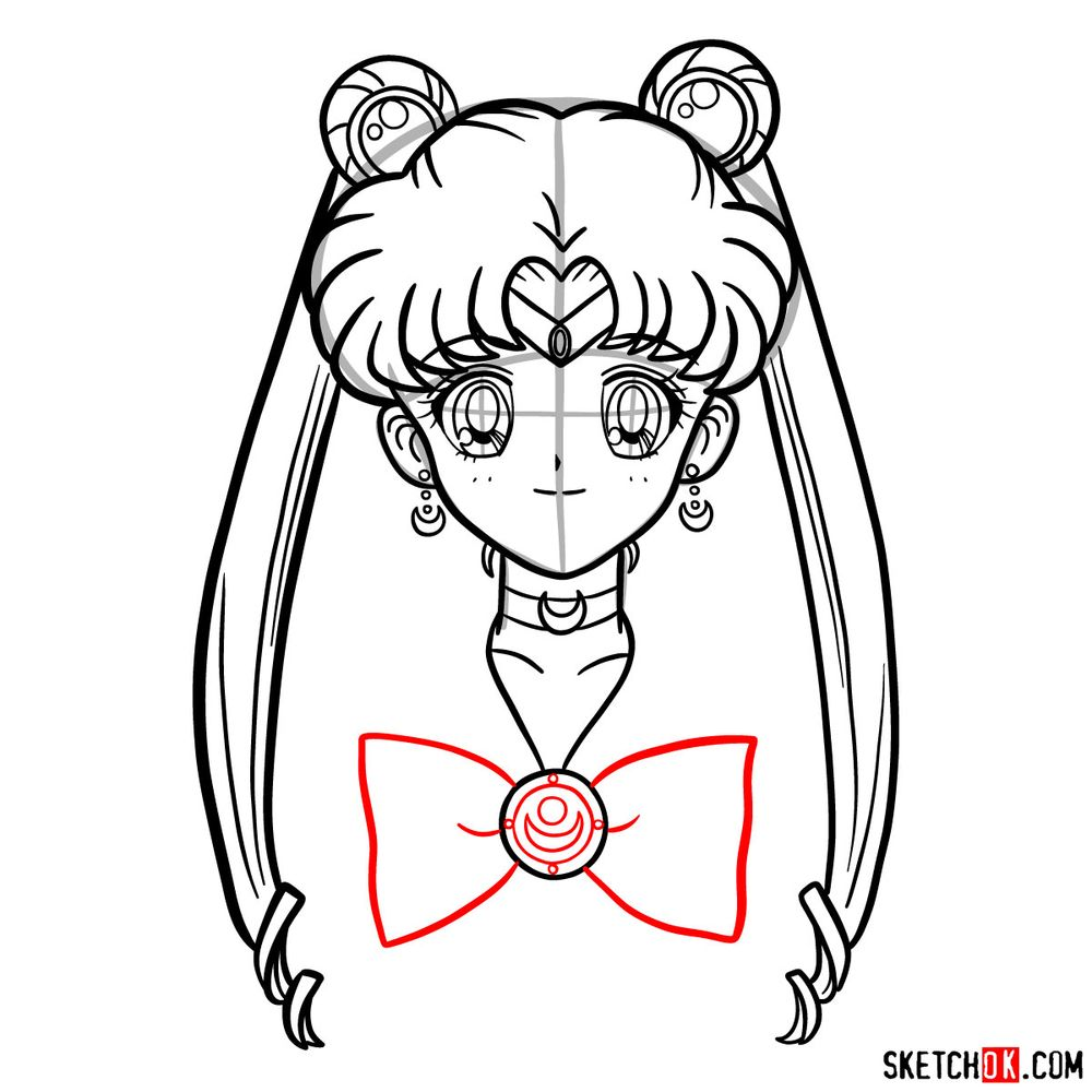 How to draw Sailor Moon's face - step 14