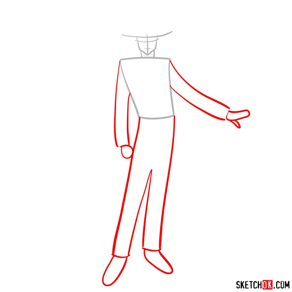 How to draw Tuxedo Mask - step 02