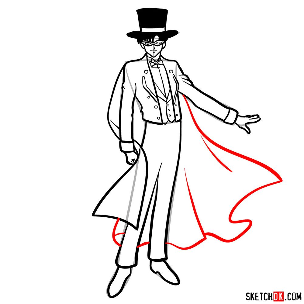 How to draw Tuxedo Mask - step 13