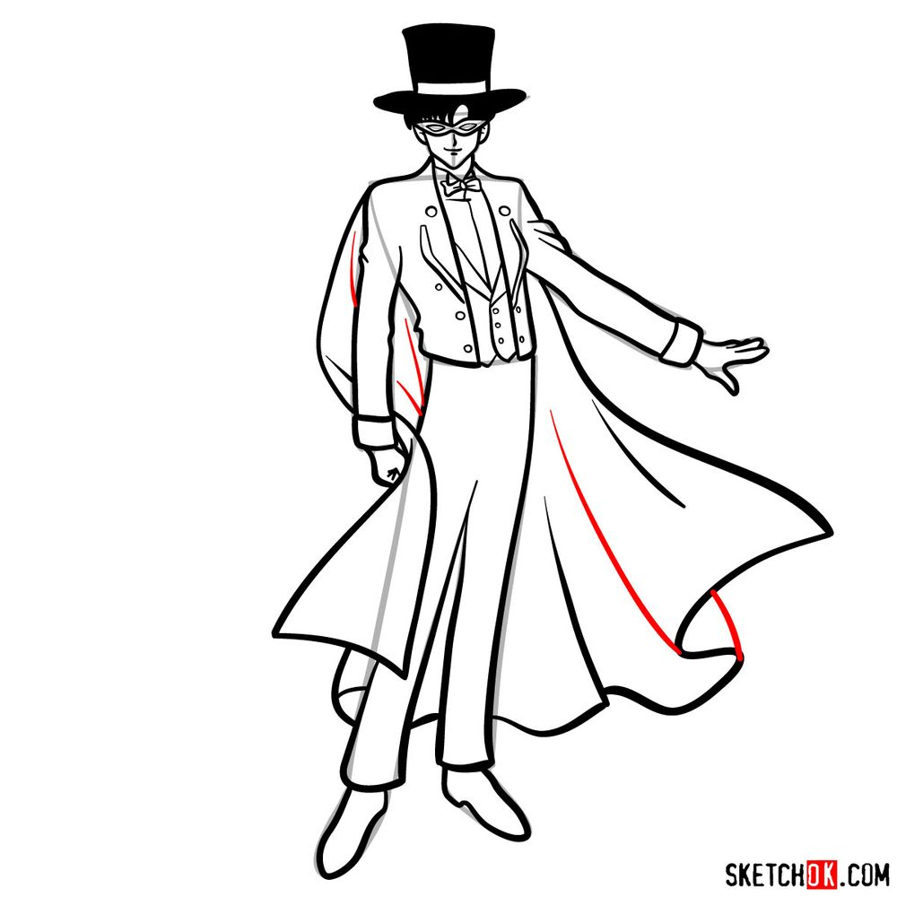 How to draw Tuxedo Mask - step 14