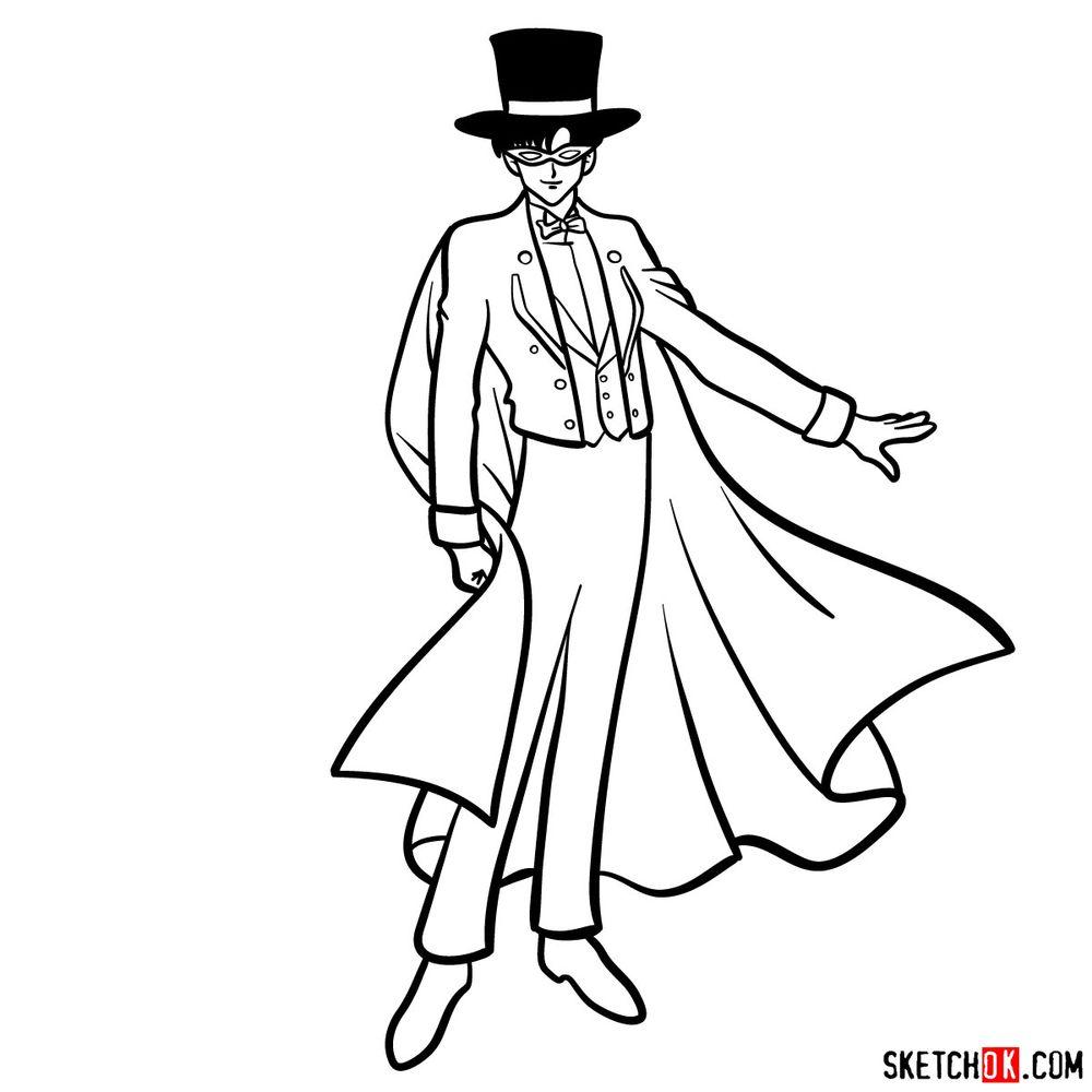 How to draw Tuxedo Mask