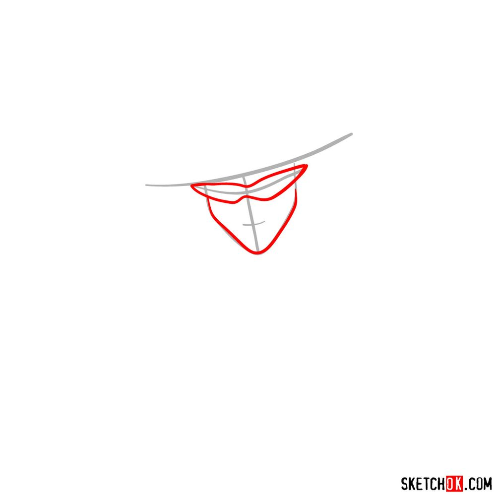 How to draw Tuxedo Mask's face - step 02