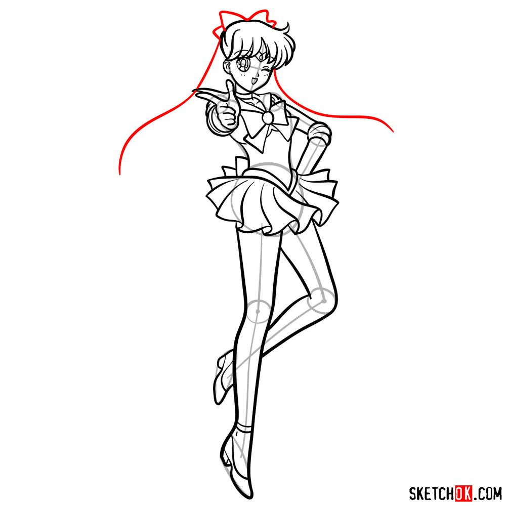 How to draw Sailor Venus - step 15