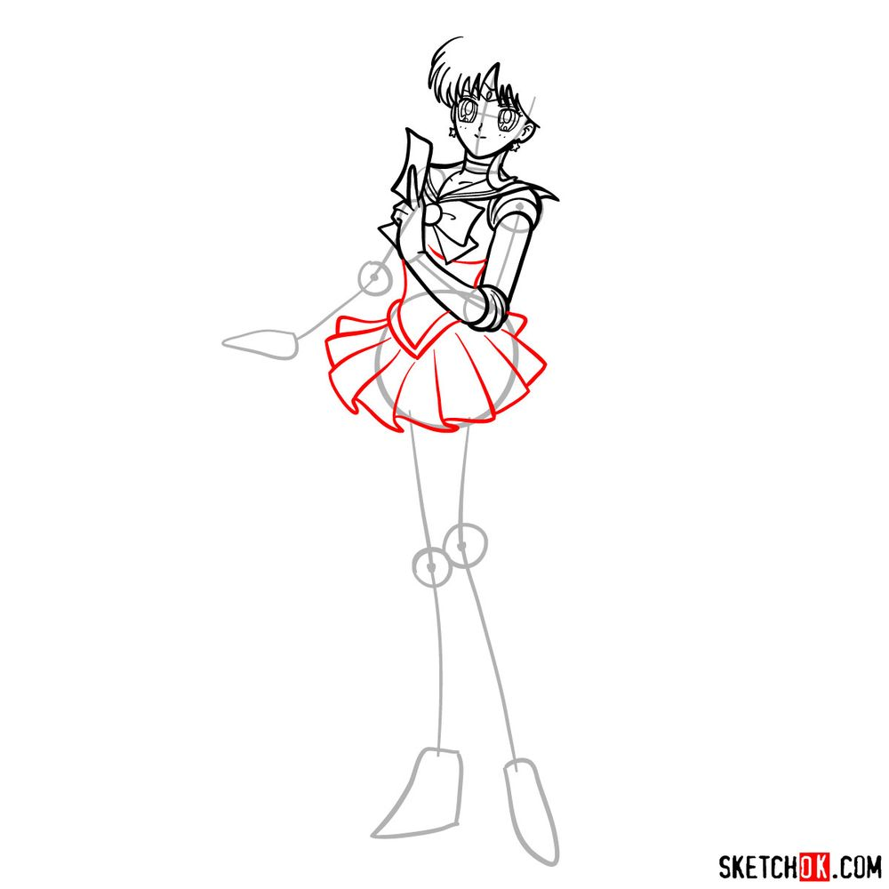 How to draw Sailor Mars - step 10