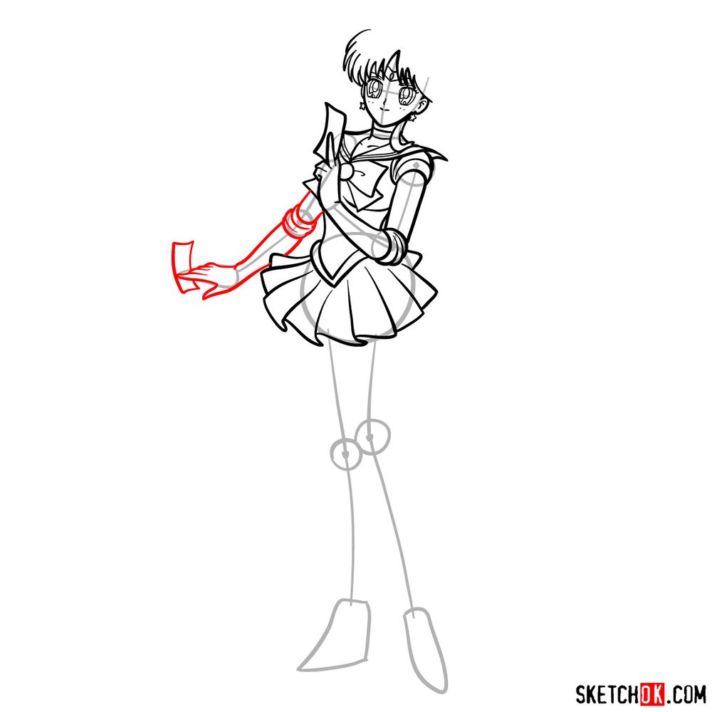 How to draw Sailor Mars - step 11