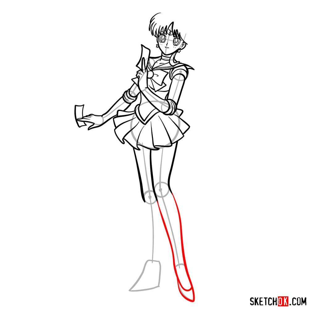How to draw Sailor Mars - step 13