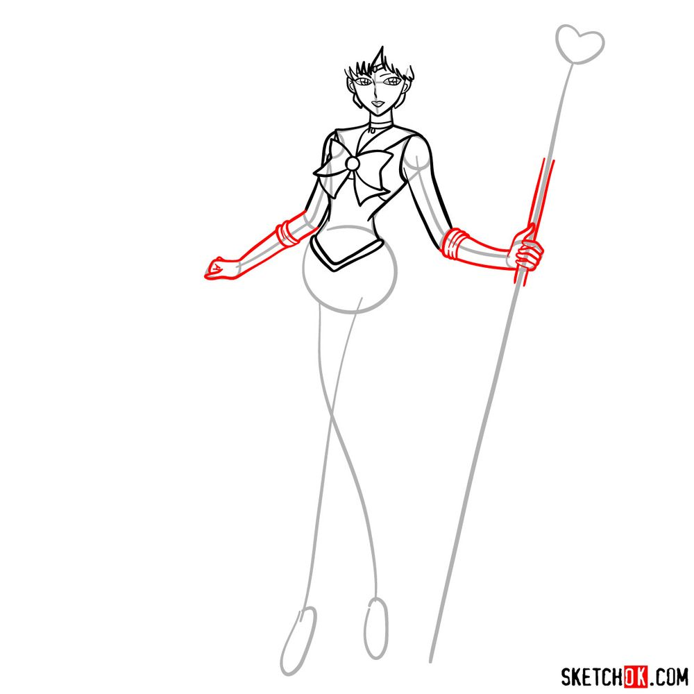 How to draw Sailor Pluto - step 09