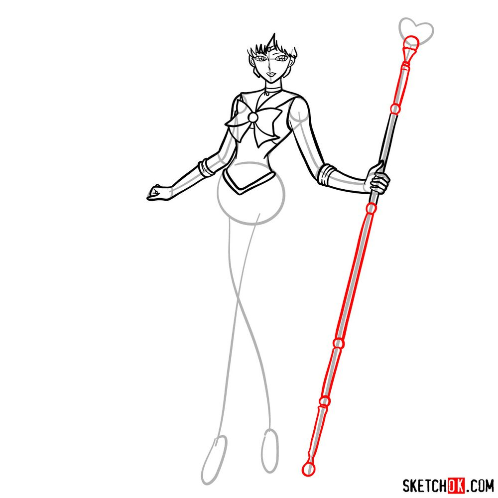 How to draw Sailor Pluto - step 10