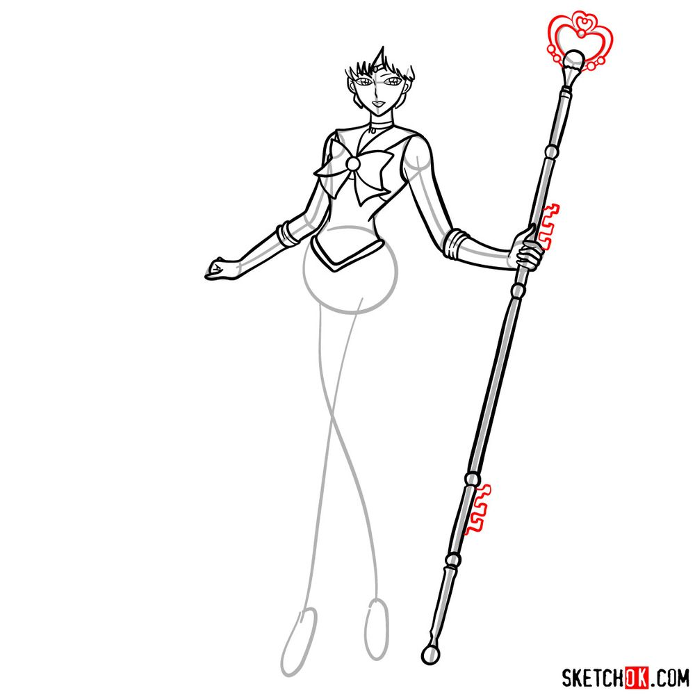 How to draw Sailor Pluto - step 11