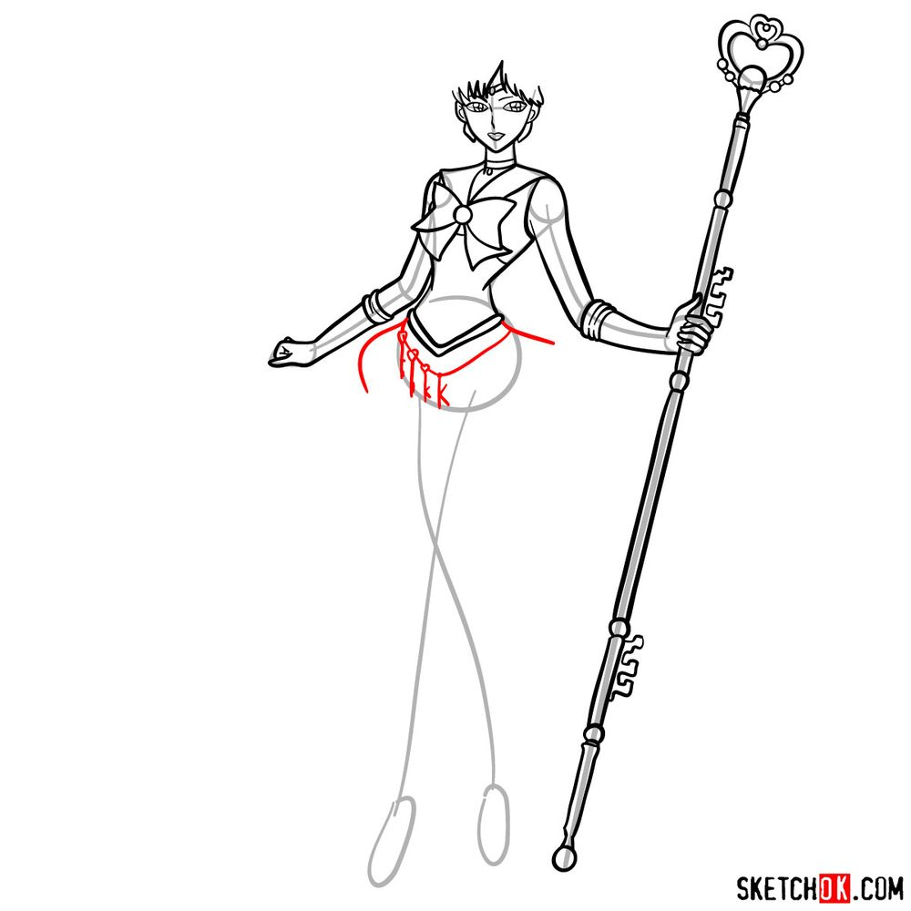 How to draw Sailor Pluto - step 12