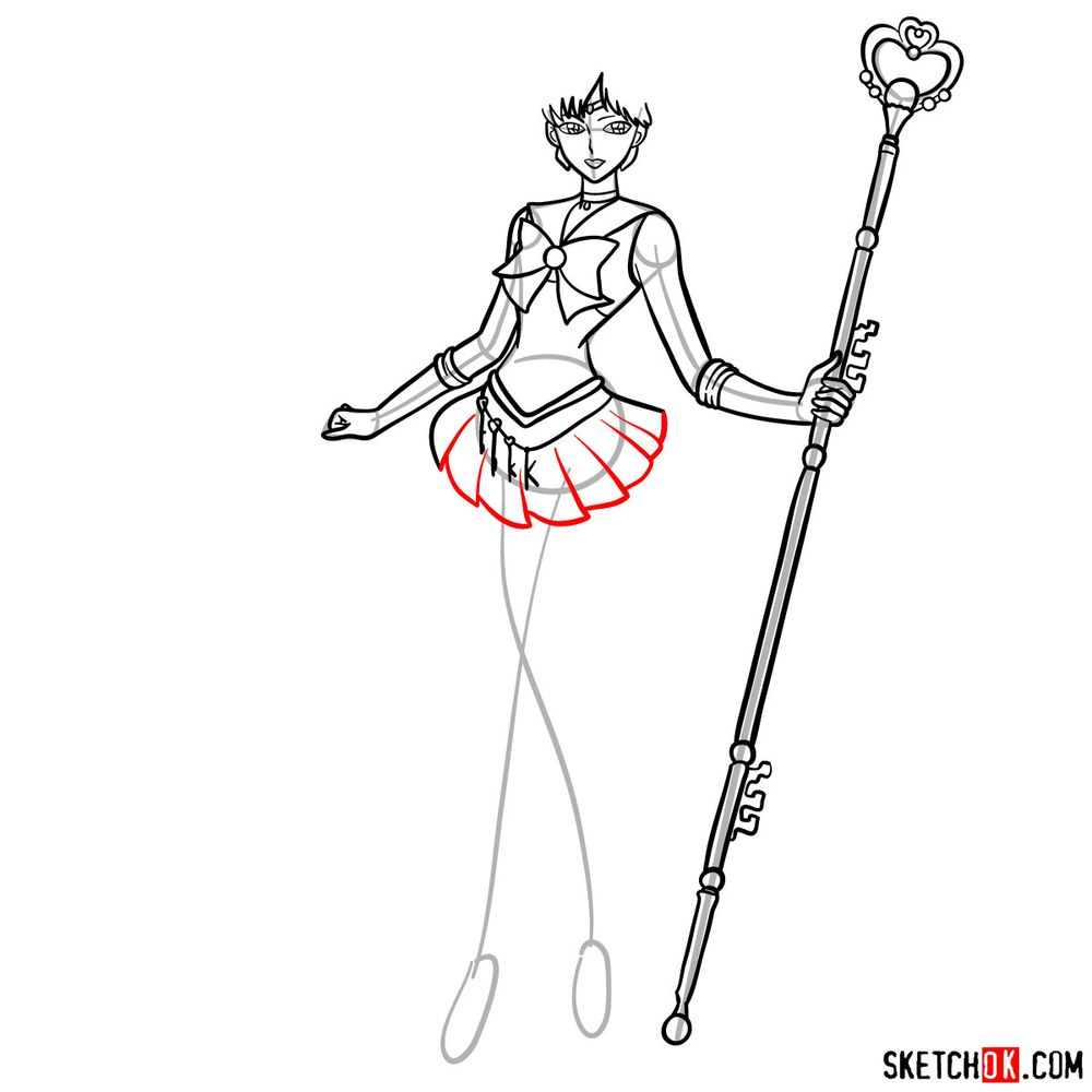 How to draw Sailor Pluto - step 13