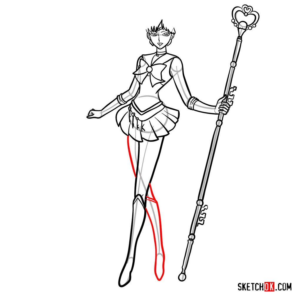 How to draw Sailor Pluto - step 15