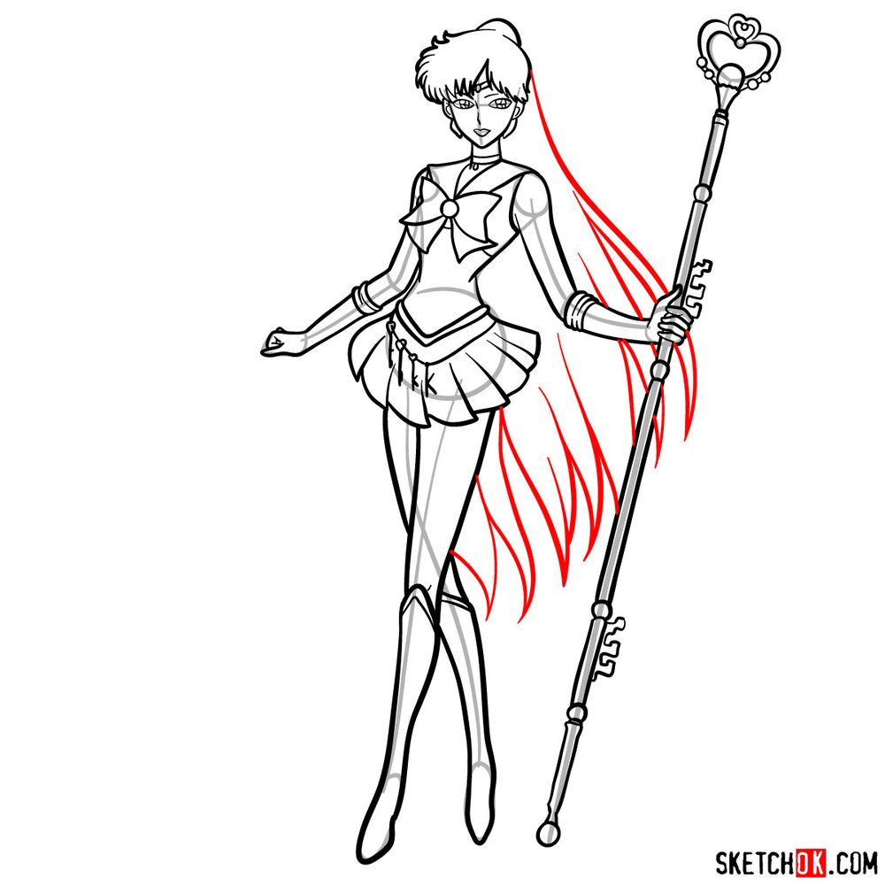 How to draw Sailor Pluto - step 17