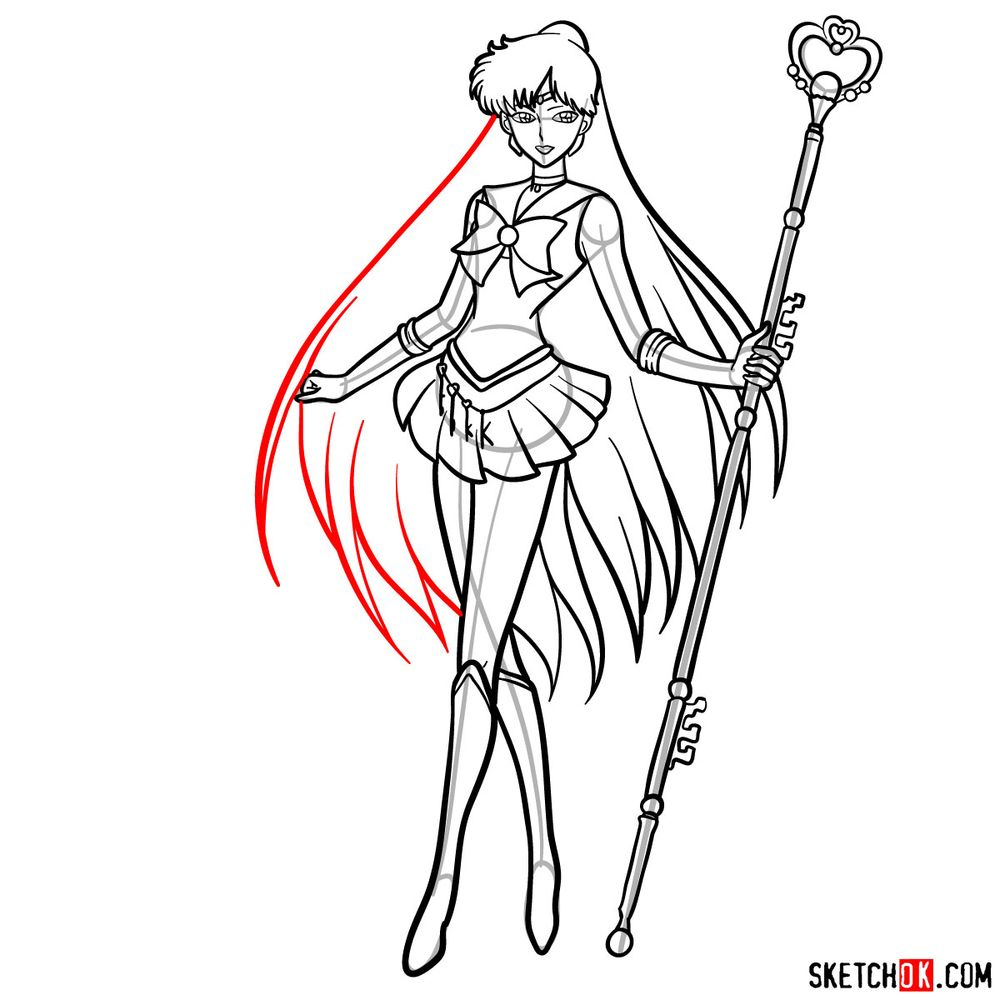 How to draw Sailor Pluto - step 18