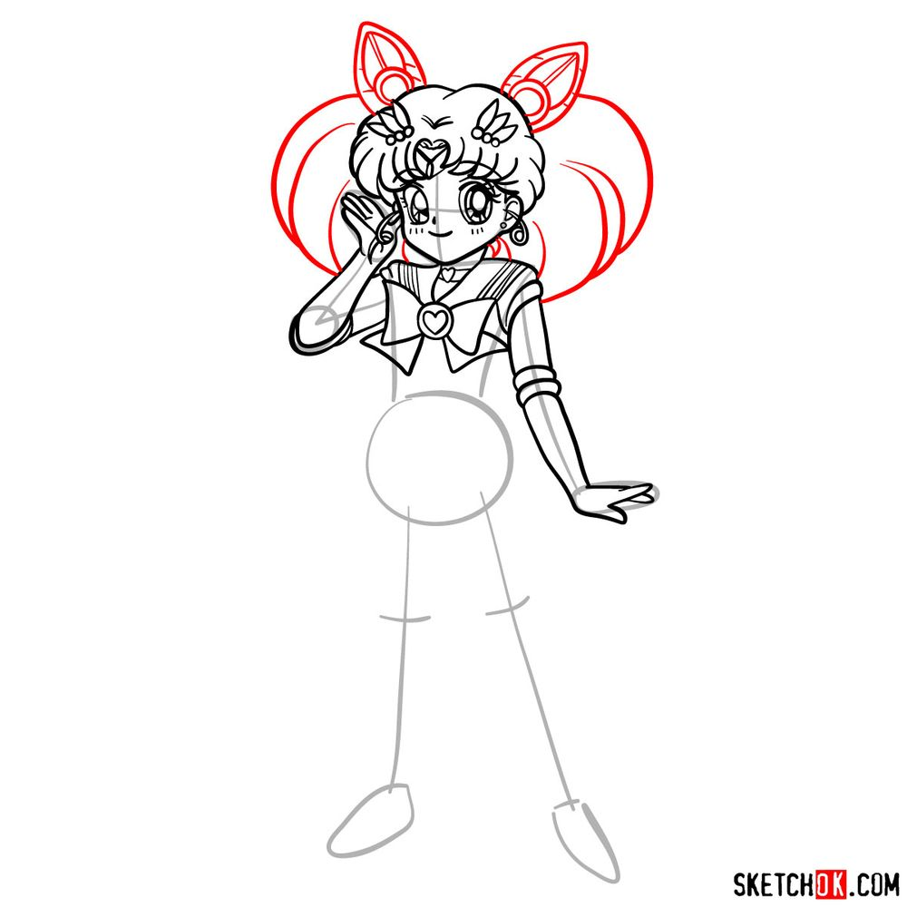 How to draw Sailor Chibi Moon - step 12