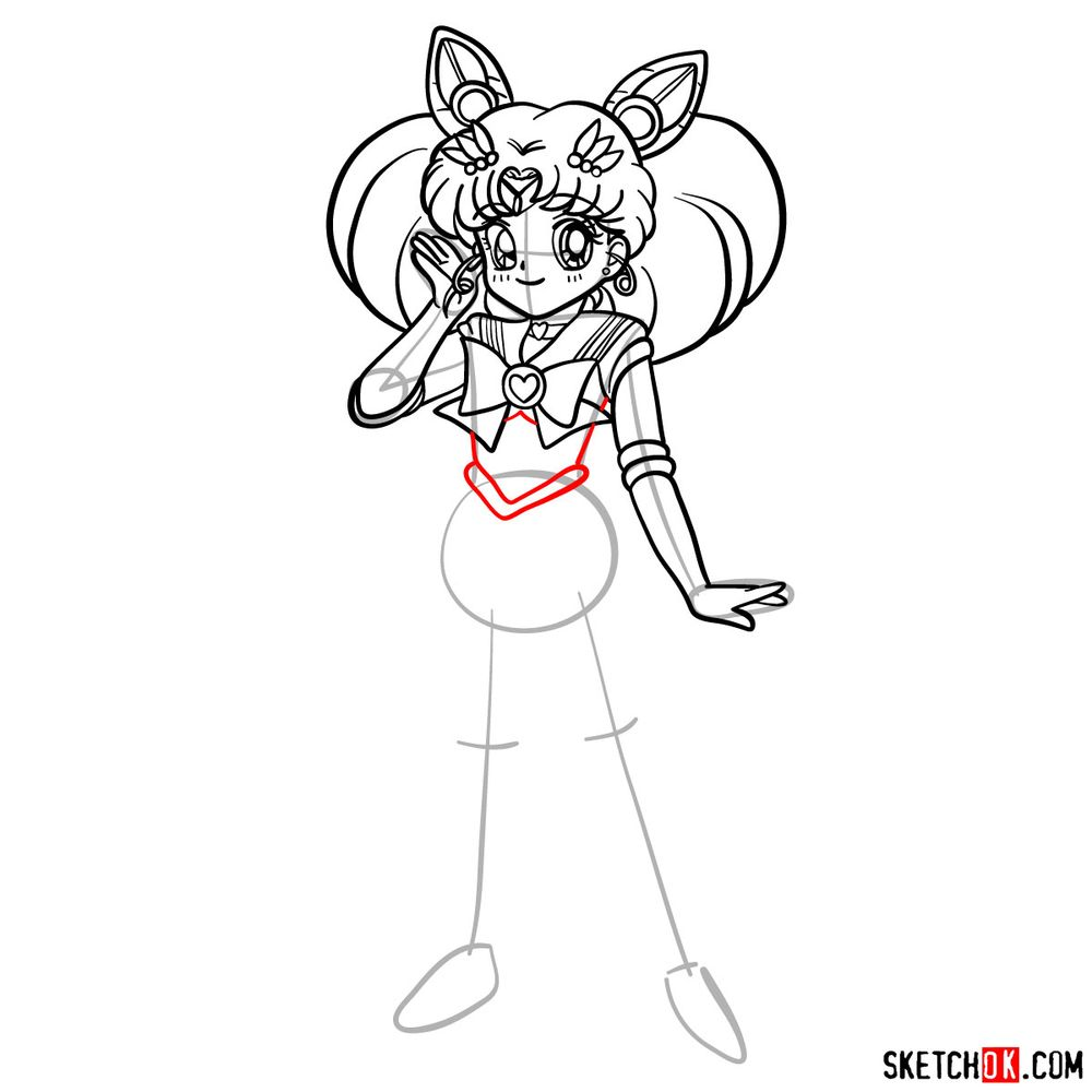 How to draw Sailor Chibi Moon - step 13