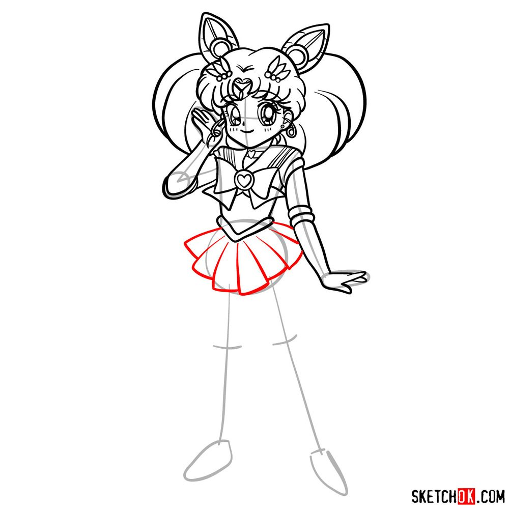 How to draw Sailor Chibi Moon - step 14