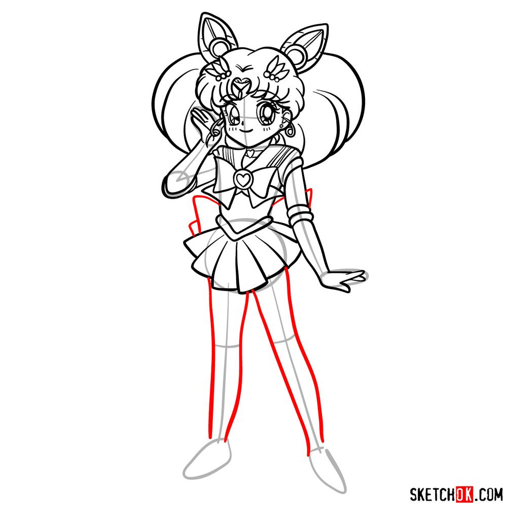 How to draw Sailor Chibi Moon - step 15