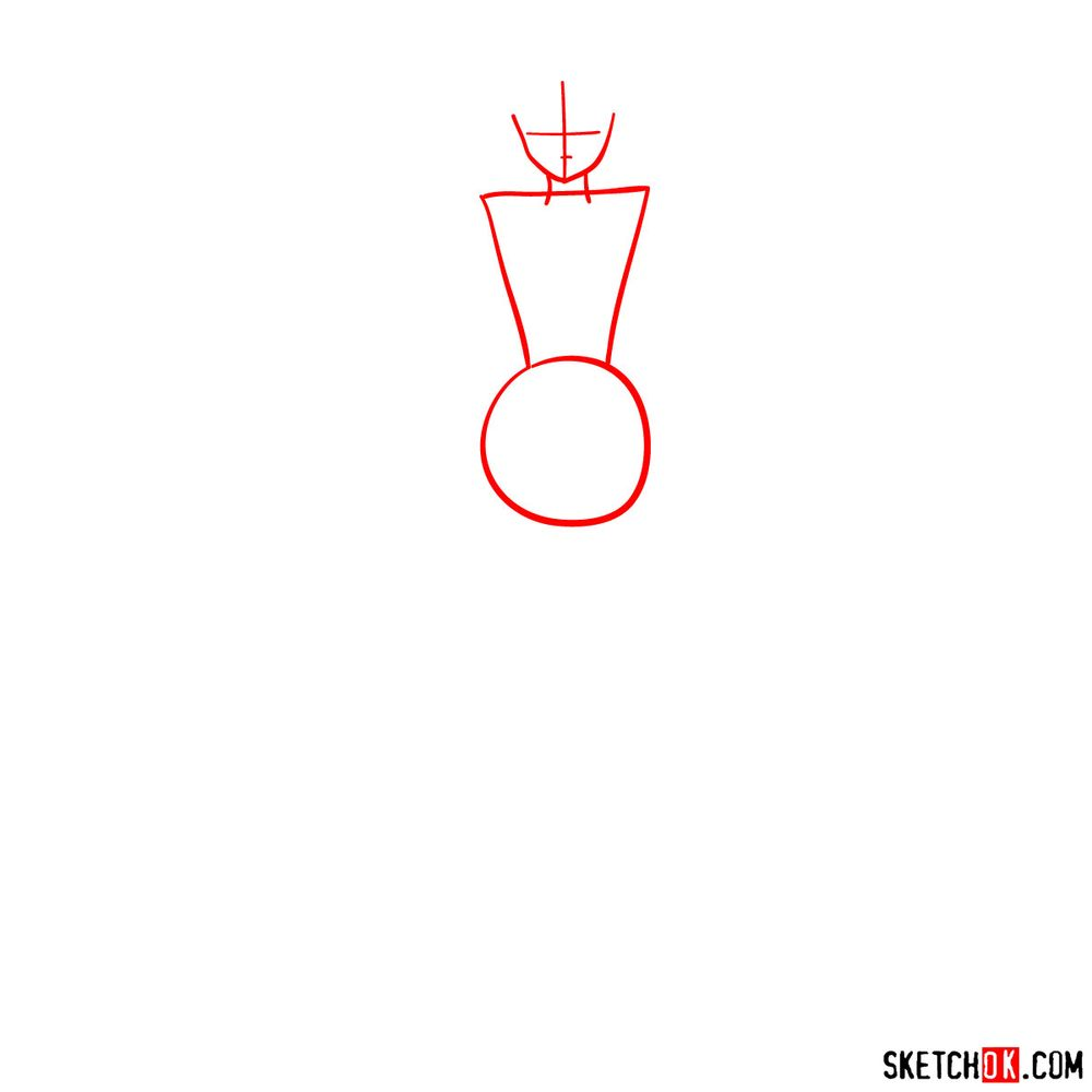 How to draw Sailor Saturn - step 01