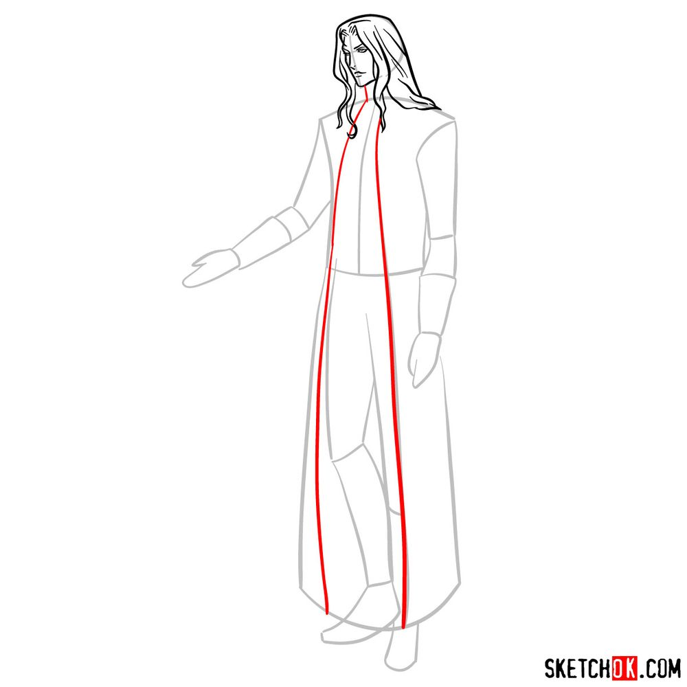 How to draw Alucard - step 09