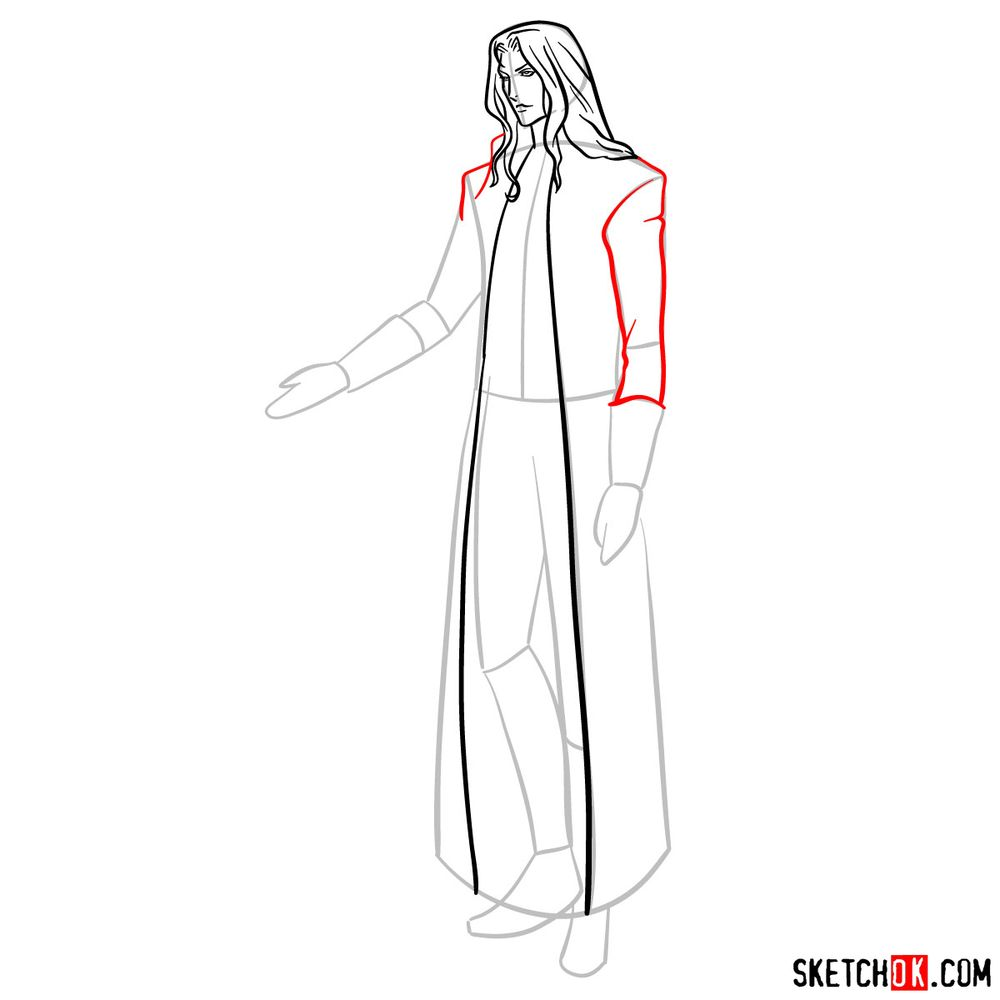 How to draw Alucard - step 10
