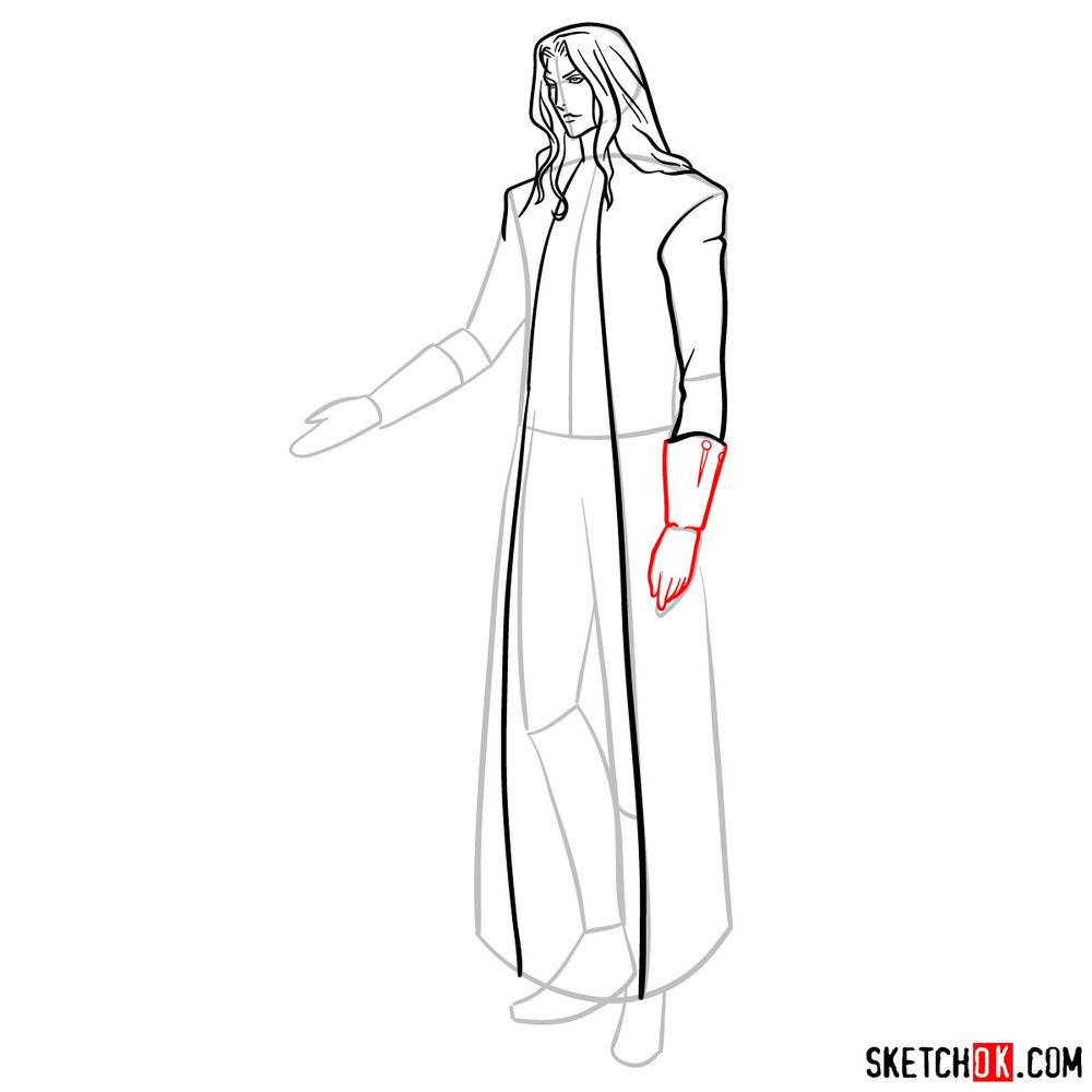 How to draw Alucard - step 11