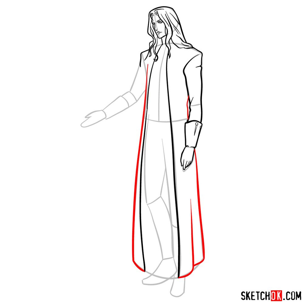 How to draw Alucard - step 12