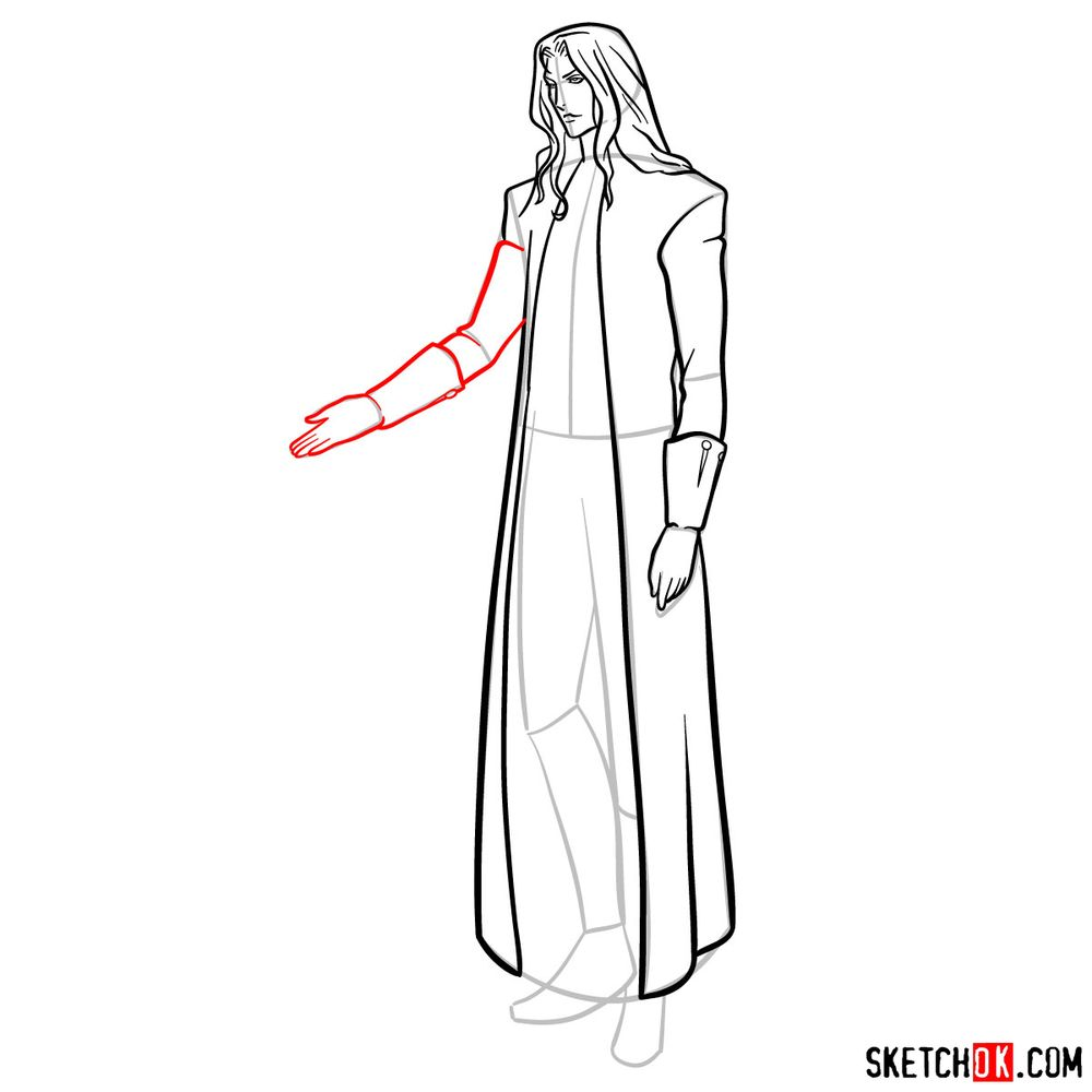 How to draw Alucard - step 13