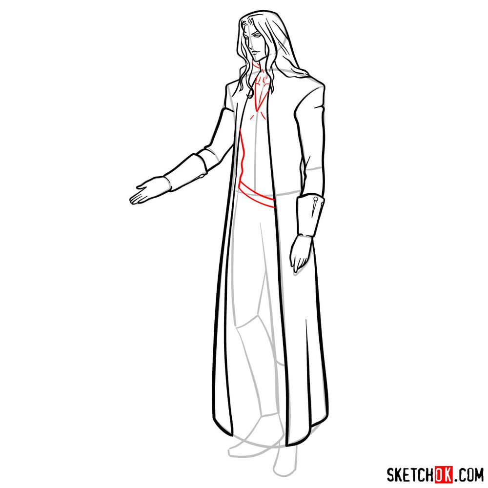 How to draw Alucard - step 14