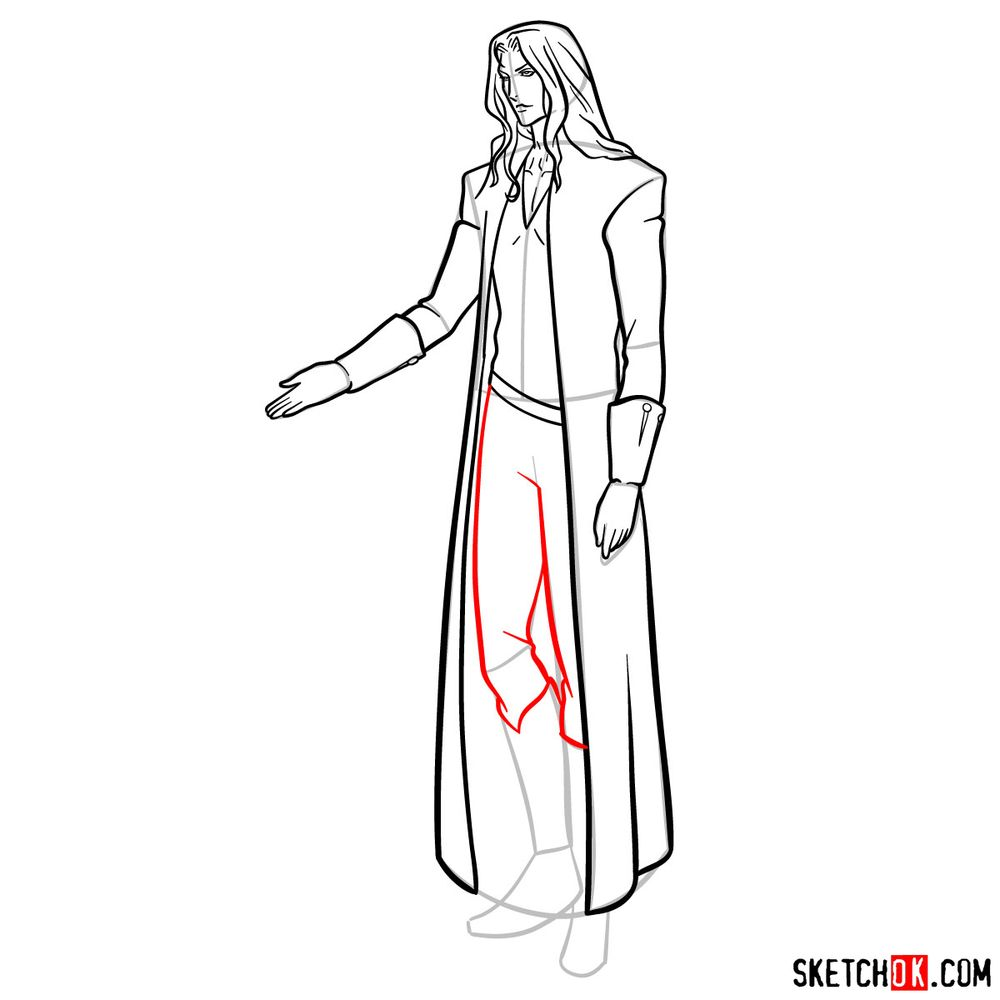 How to draw Alucard - step 15