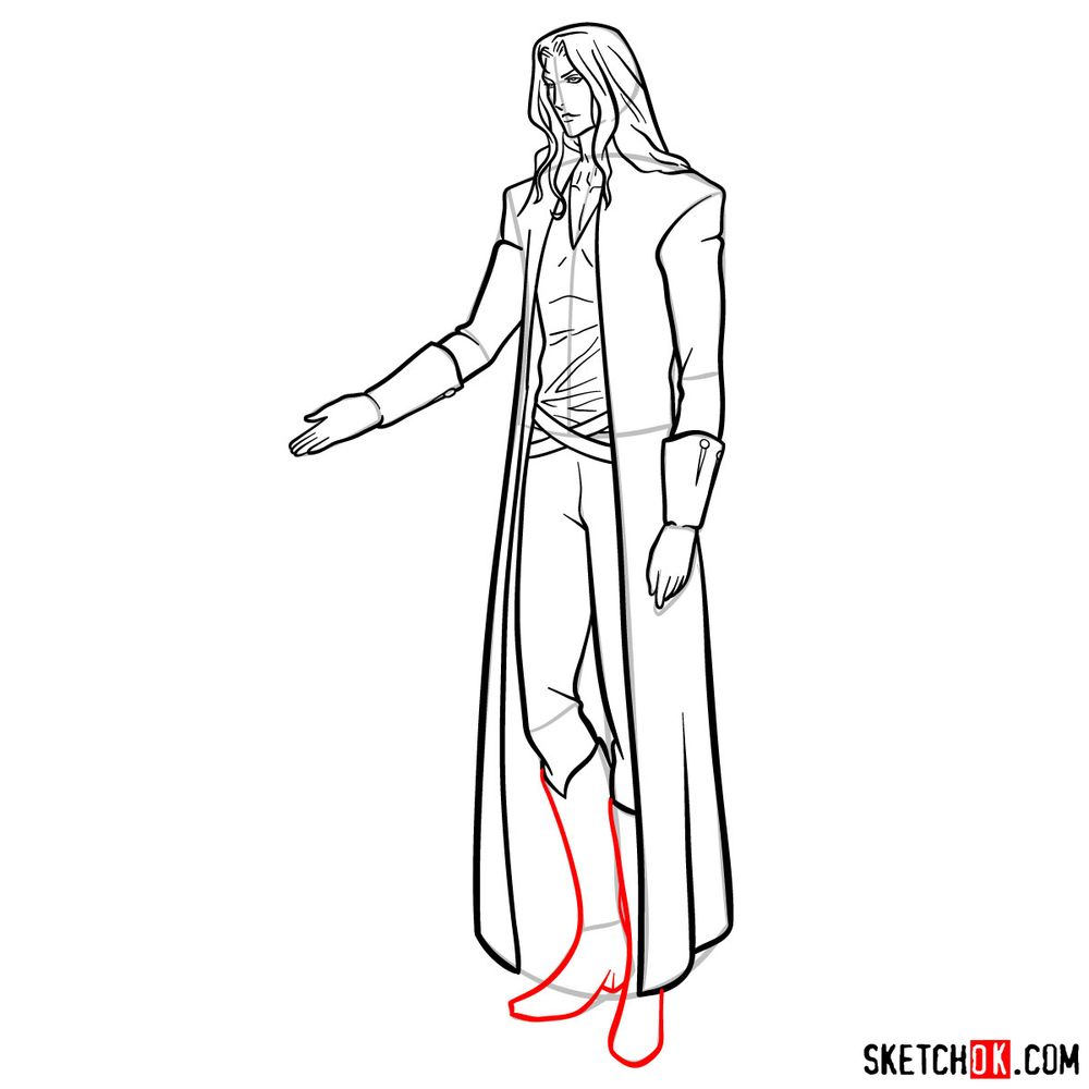 How to draw Alucard - step 17