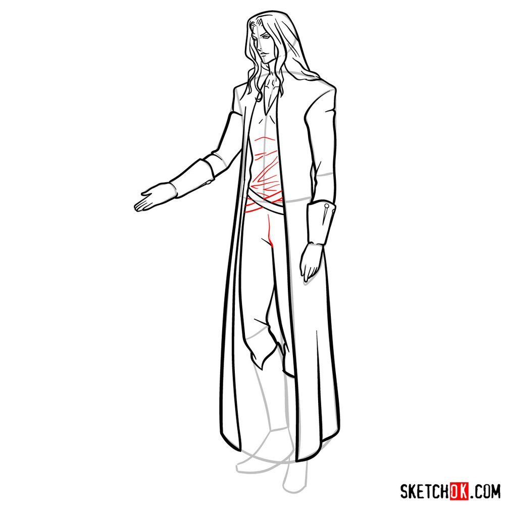 How to draw Alucard - step 18
