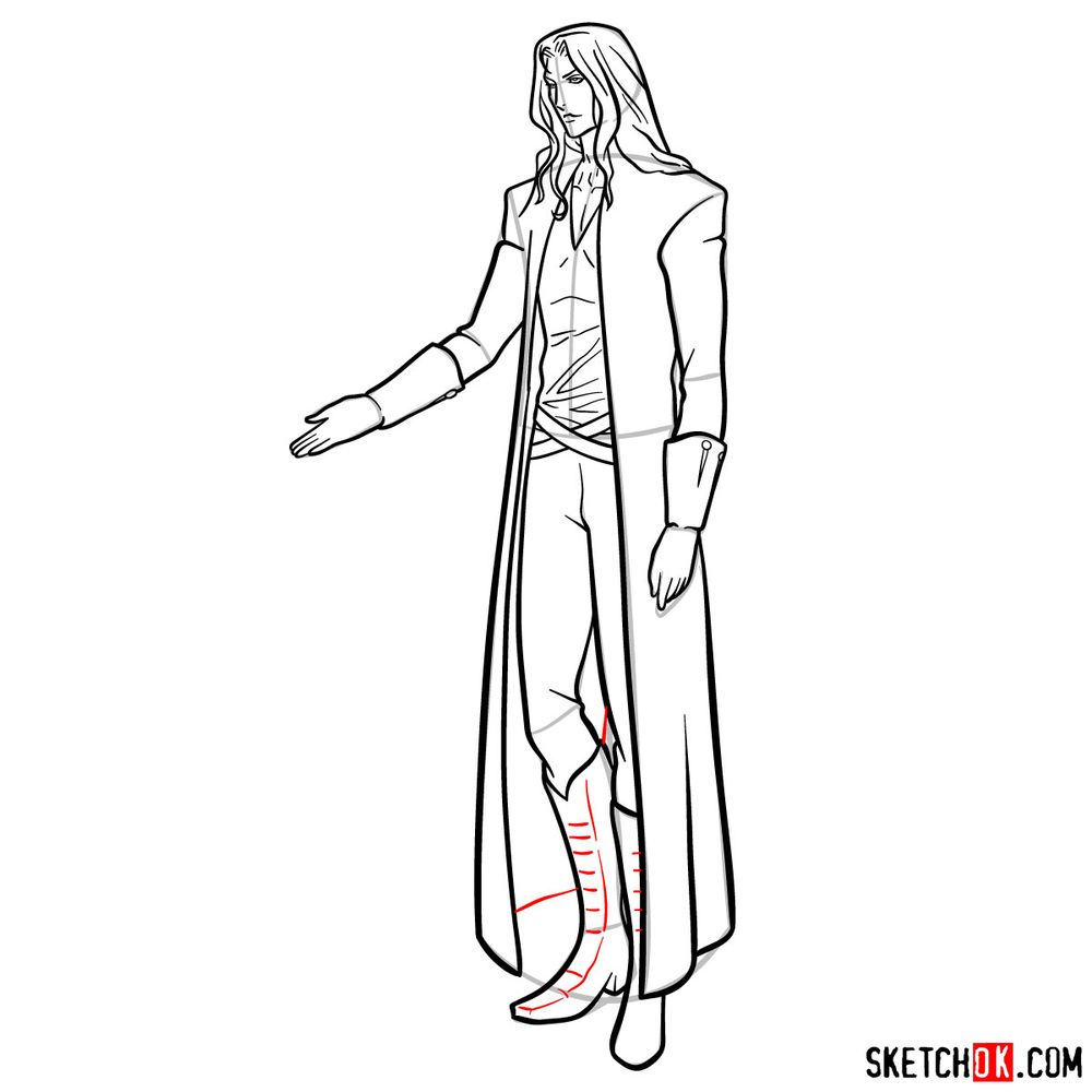 How to draw Alucard - step 19