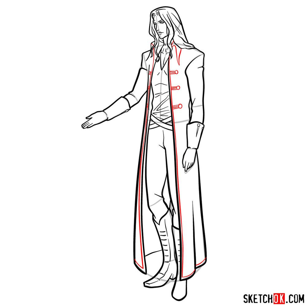 How to draw Alucard - step 20