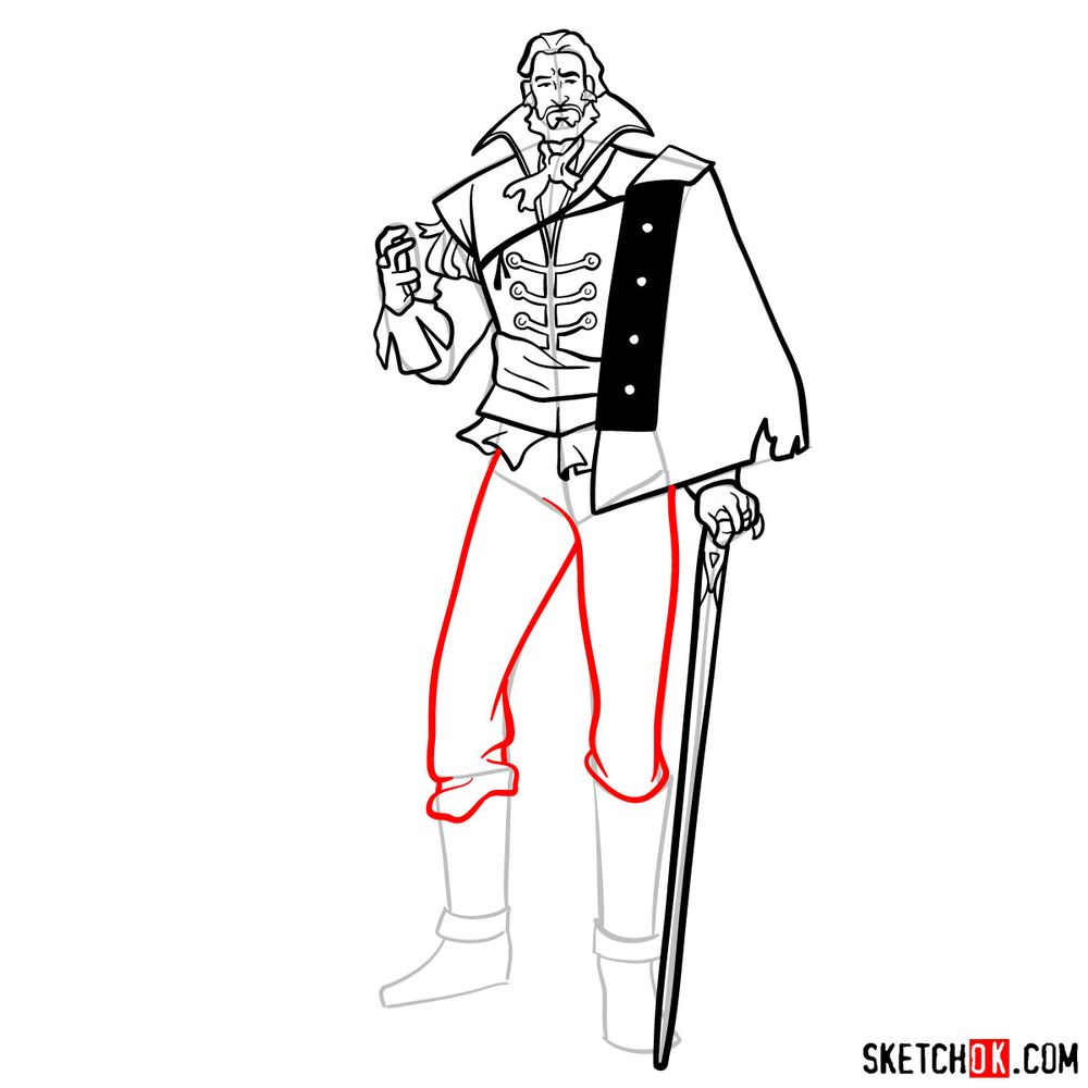 How to draw Saint Germain - step 14