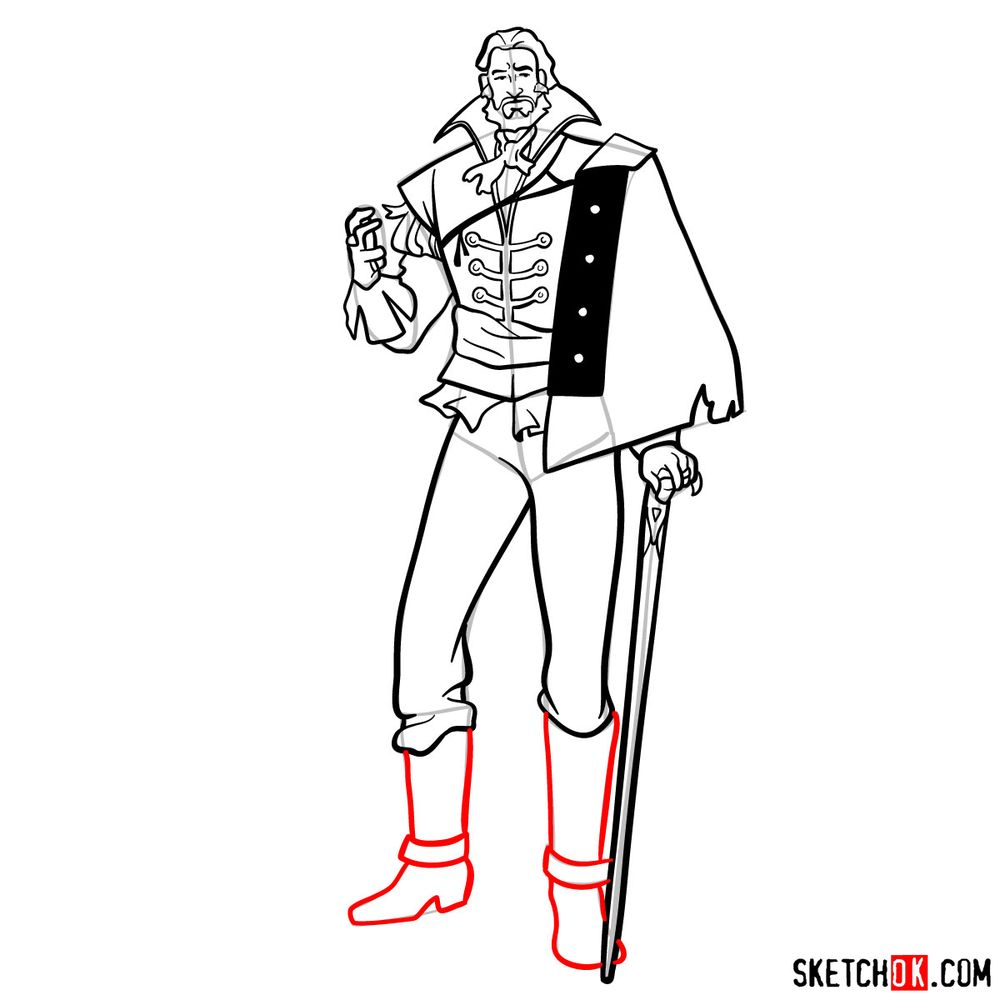 How to draw Saint Germain - step 15