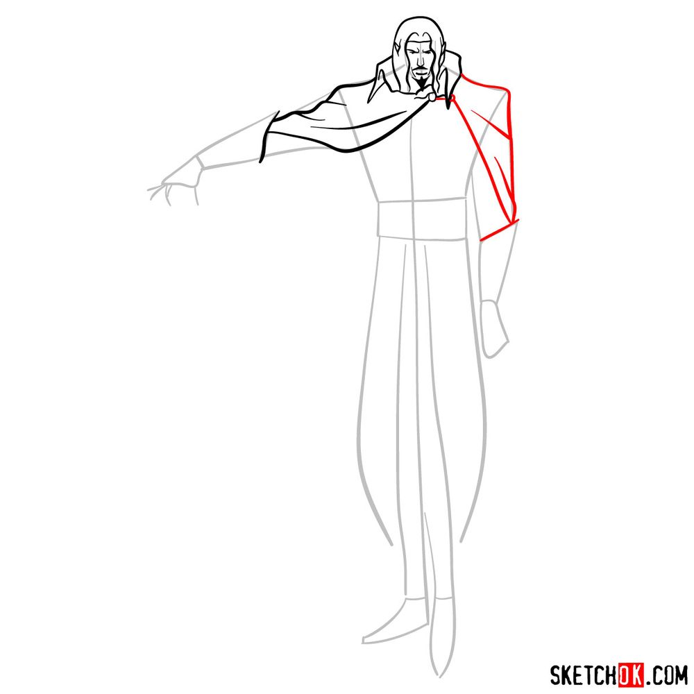 How to draw Vlad Dracula Tepes - step 08