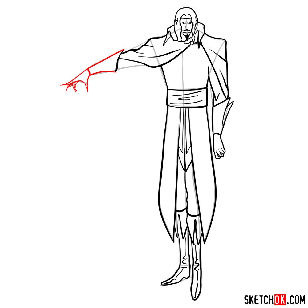 How to draw Vlad Dracula Tepes - step 14