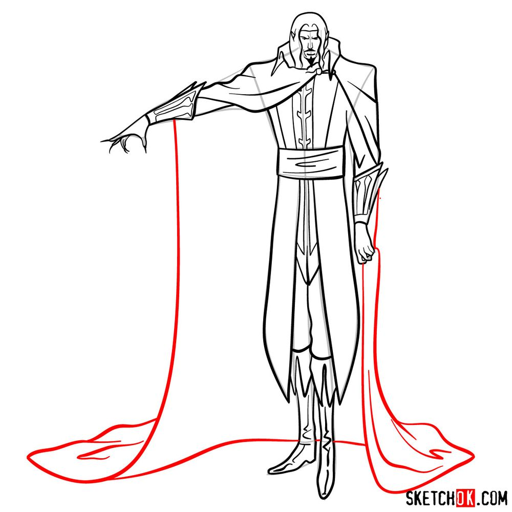 How to draw Vlad Dracula Tepes - step 17