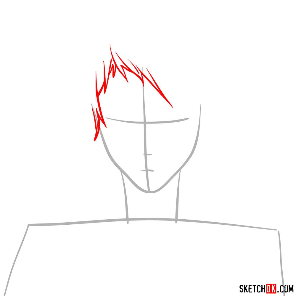 How to draw Benedict Blue's face - step 02