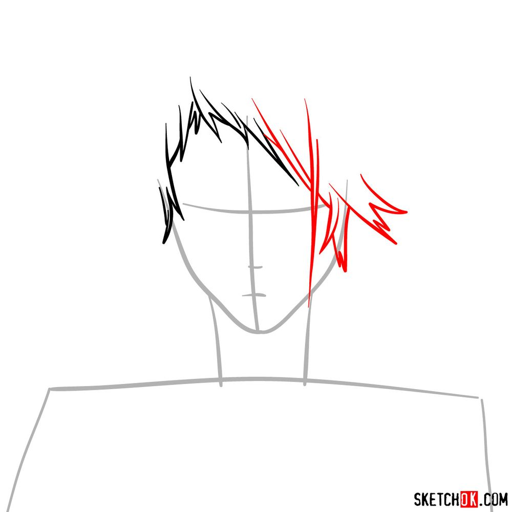 How to draw Benedict Blue's face - step 03