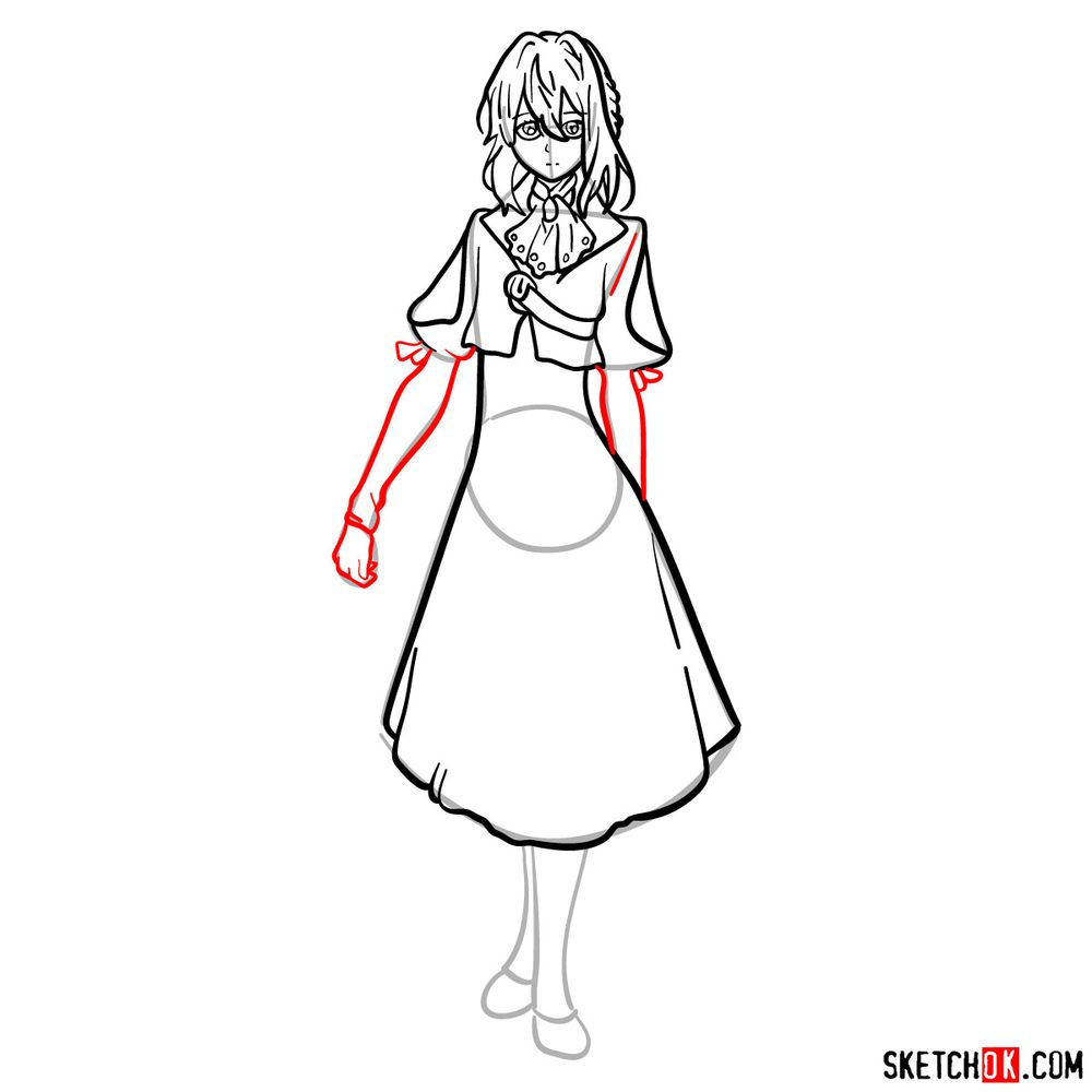 How to draw Violet Evergarden - step 11